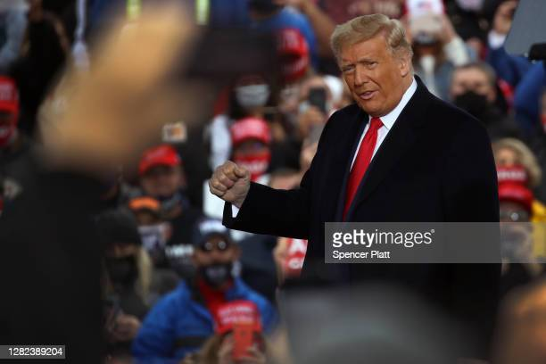 President Donald Trump delivers remarks at a rally during the last full week of campaigning before the presidential election on October 26, 2020 in...