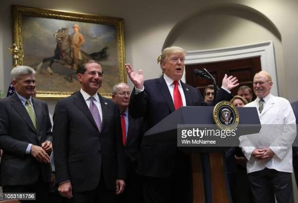 "S President Donald Trump delivers remarks at a signing ceremony for the 'Know the Lowest Price"" Act and the ""Patient's Right to Know Drug Prices' Act..."