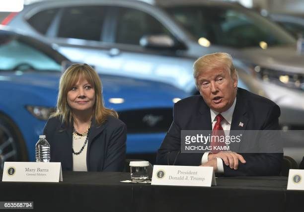 US President Donald Trump delivers remarks at American Center for Mobility in Ypsilanti Michigan with General Motors CEO Mary Barra and other auto...