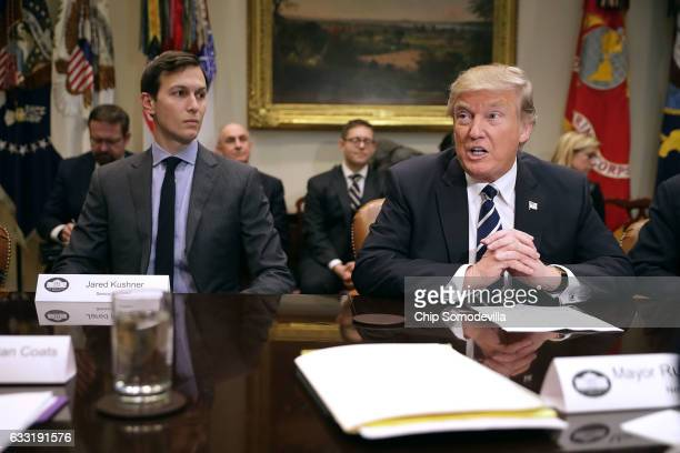President Donald Trump delivers remarks at the beginning of a meeting with his son-in-law and Senior Advisor Jared Kushner and government cyber...