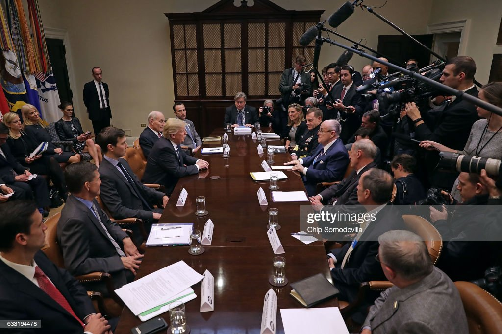 President Trump Meets With Cyber Security Experts At White House : News Photo