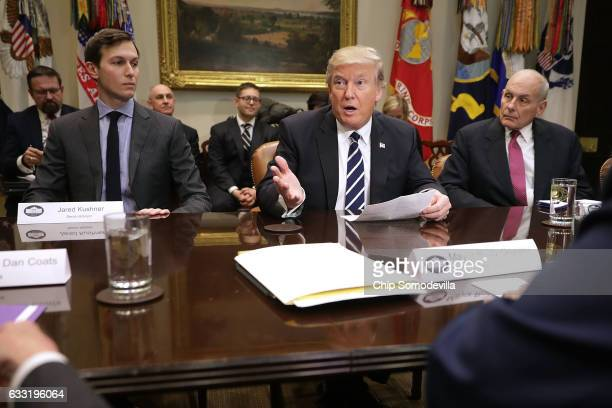 S President Donald Trump delivers remarks at the beginning of a meeting with his soninlaw and Senior Advisor Jared Kushner Homeland Security...