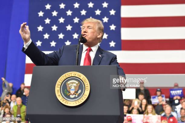 US President Donald Trump delivers remarks at the Make America Great Again Rally on March 10 2018 in Moon Township Pennsylvania President Trump...