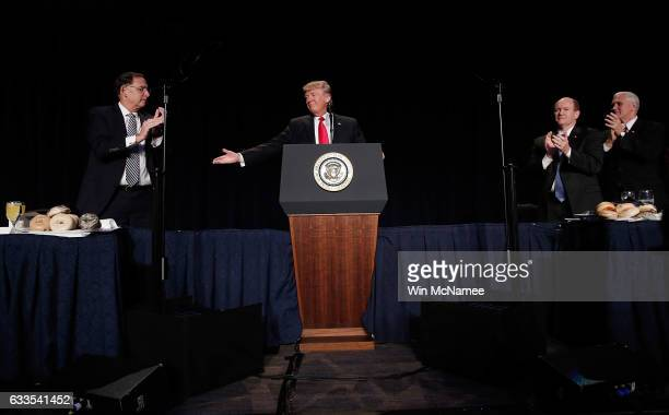 US President Donald Trump delivers remarks at the National Prayer Breakfast February 2 2017 in Washington DC Every US president since Dwight...