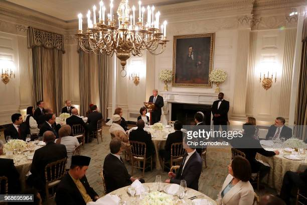 S President Donald Trump delivers remarks before hosting an Iftar dinner in the State Dining Room at the White House June 6 2018 in Washington DC The...