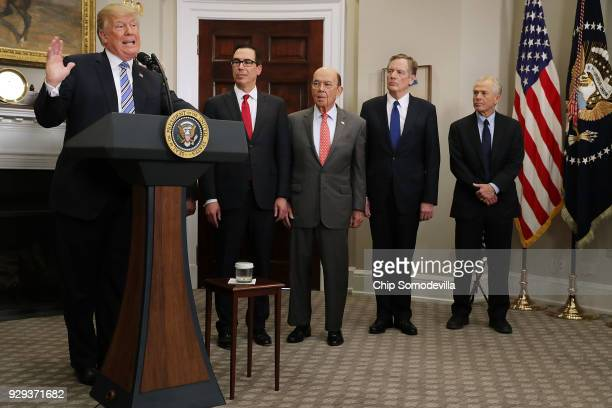 S President Donald Trump delivers remarks before signing 'Section 232 Proclamations' on steel and aluminum imports with Treasury Secretary Steven...