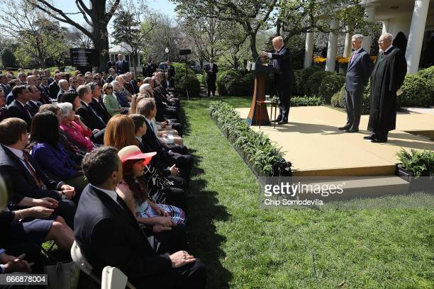 S President Donald Trump delivers remarks before Supreme Court Associate Justice Anthony Kennedy administers the judical oath to Judge Neil Gorsuch...