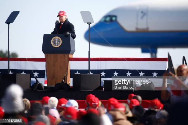 President Donald Trump delivers remarks during a campaign rally at Fayetteville Regional Airport on November 2, 2020 in Fayetteville, North Carolina....
