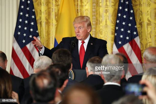 S President Donald Trump delivers remarks during a joint news conference with Colombian President Juan Manuel Santos at the White House May 18 2017...