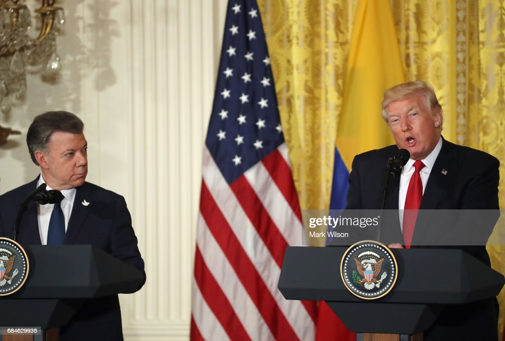U.S. President Donald Trump delivers remarks during a joint news conference with Colombian President Juan Manuel Santos at the White House May 18, 2017 in Washington, DC. The Trump administration has said it wants to slash foreign aide and Santos will most likely seek a renewal of $450 million dollars from the U.S. that supports the peace accord between the Columbian government at the Revolutionary Armed Forces (FARC).