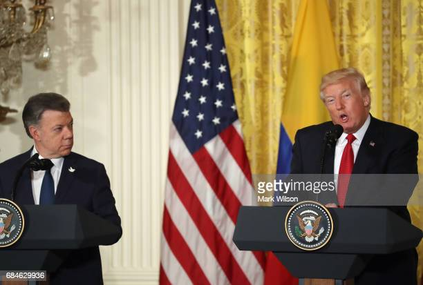President Donald Trump delivers remarks during a joint news conference with Colombian President Juan Manuel Santos at the White House May 18, 2017 in...