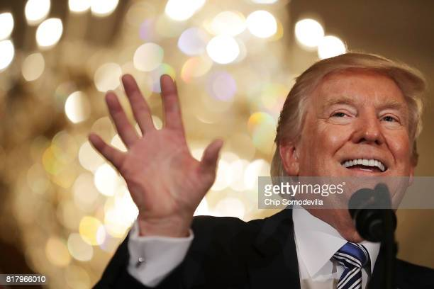 S President Donald Trump delivers remarks during a Made in America product showcase in the East Room of the White House July 17 2017 in Washington DC...