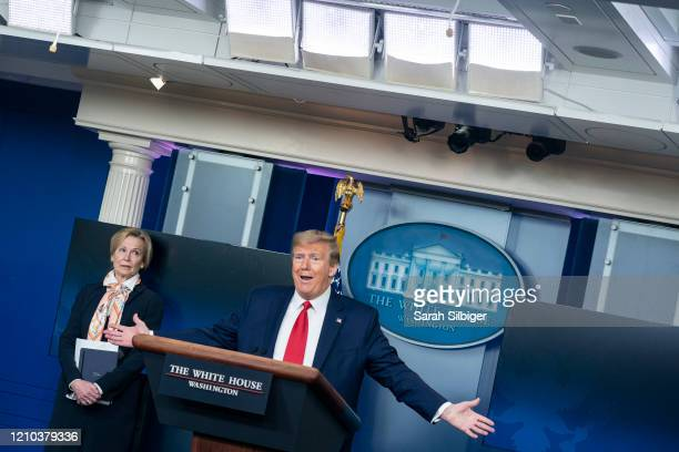 S President Donald Trump delivers remarks during a press briefing with White House coronavirus response coordinator Deborah Birx on April 18 2020 in...