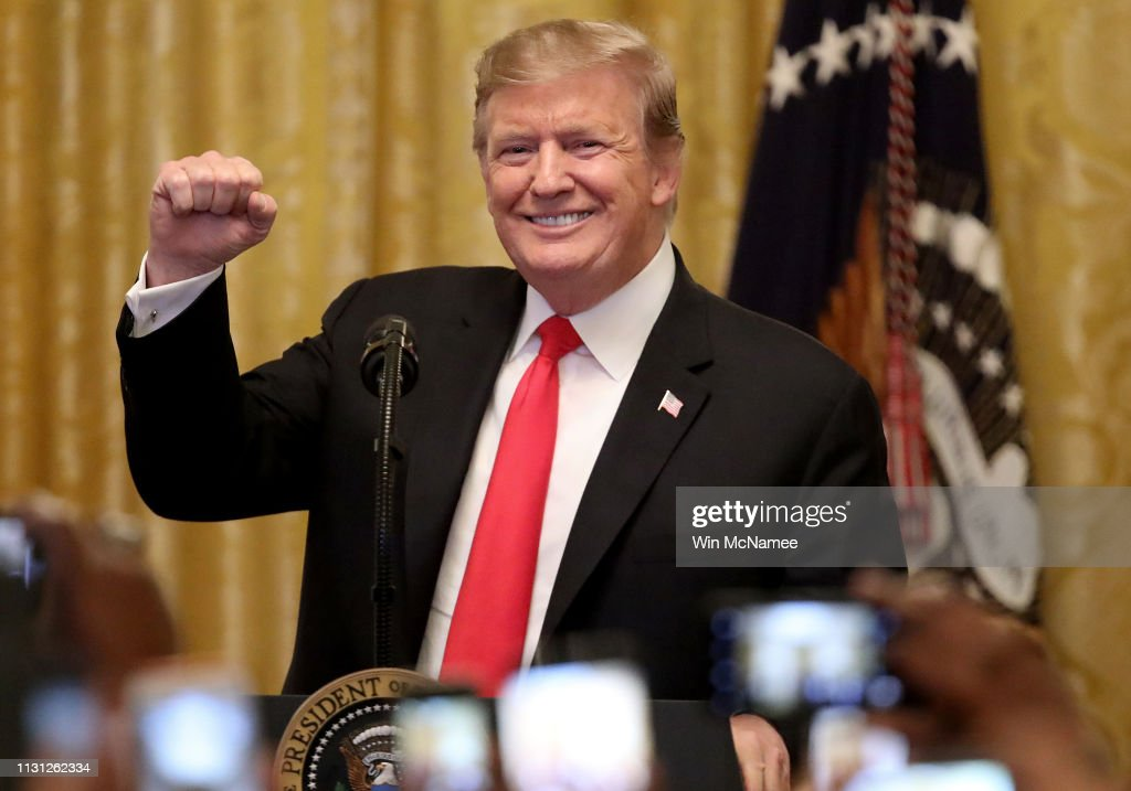President Donald Trump Participates In A Reception For National African-American History Month : News Photo