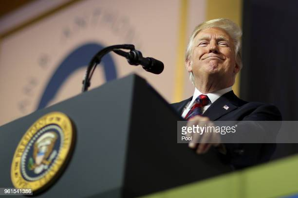 President Donald Trump delivers remarks during the Susan B Anthony List gala at the National Building Museum on May 22 2018 in Washington DC Trump is...