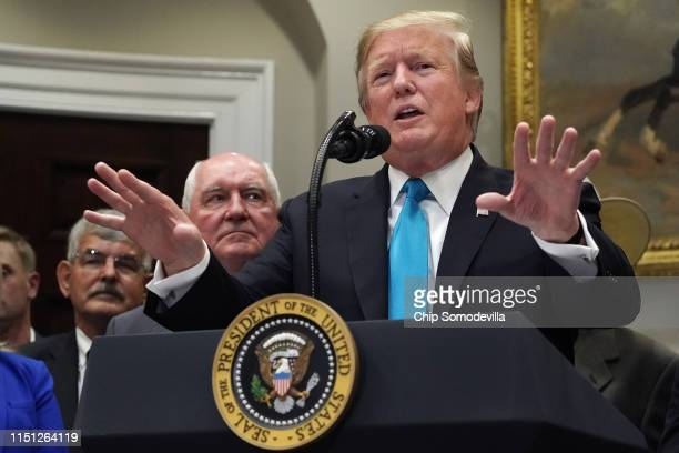 S President Donald Trump delivers remarks in support of farmers and ranchers in the Roosevelt Room at the White House May 23 2019 in Washington DC As...