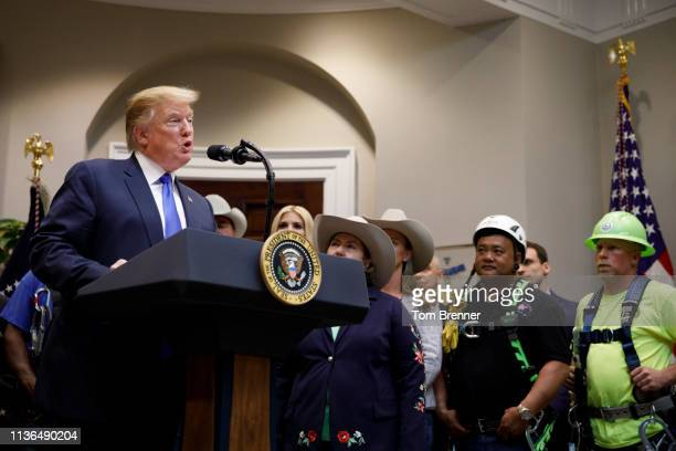 President Donald Trump delivers remarks on 5G deployment in the United States on April 12 2019 inside the Roosevelt Room of the White House in...