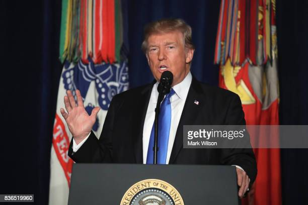 S President Donald Trump delivers remarks on Americas military involvement in Afghanistan at the Fort Myer military base on August 21 2017 in...