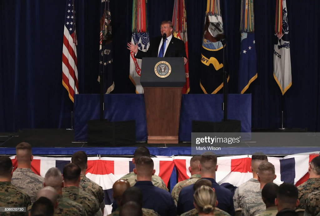 U.S. President Donald Trump delivers remarks on Americas military involvement in Afghanistan at the Fort Myer military base on August 21, 2017 in Arlington, Virginia. Trump was expected to announce a modest increase in troop levels in Afghanistan, the result of a growing concern by the Pentagon over setbacks on the battlefield for the Afghan military against Taliban and al-Qaeda forces.