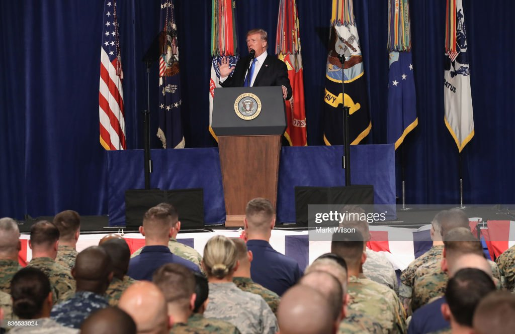 President Trump Addresses The Nation On Strategy In Afghanistan And South Asia From Fort Myer In Arlington : News Photo