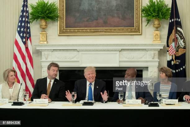 US President Donald Trump delivers remarks on health care and Republicans' inability thus far to replace or repeal the Affordable Care Act during a...
