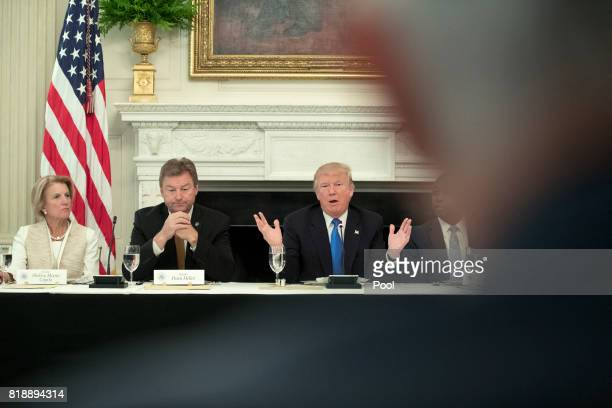 US President Donald Trump delivers remarks on health care and Republicans' inability thus far to replace or repeal the Affordable Care Act as Sen...