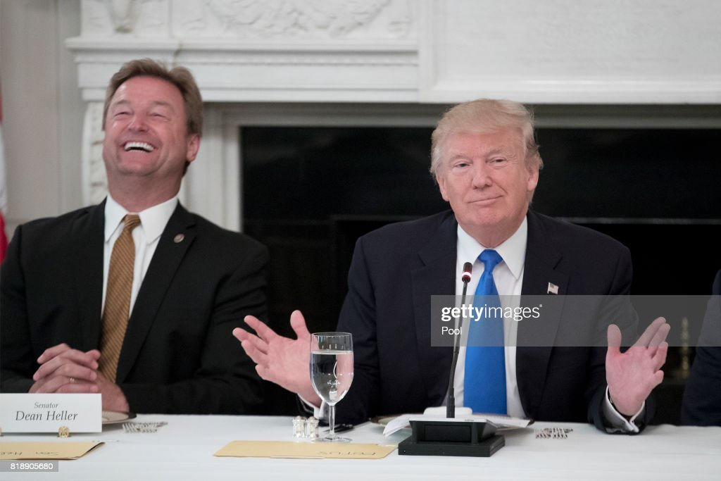 U.S. President Donald Trump Hosts Members of the U.S. Congress at the White House : News Photo