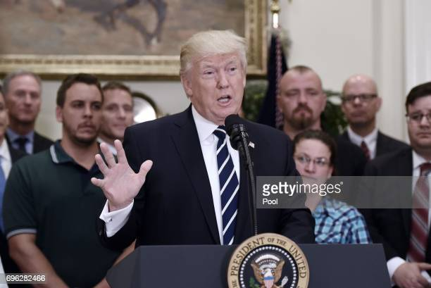 S President Donald Trump delivers remarks on his executive order that aims to expand apprenticeships to train people for millions of unfilled skilled...