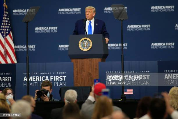 President Donald Trump delivers remarks on his healthcare policies on September 24, 2020 in Charlotte, North Carolina. Trump's trip to North Carolina...
