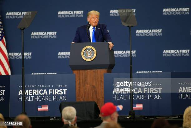 S President Donald Trump delivers remarks on his healthcare policies on September 24 2020 in Charlotte North Carolina Trump's trip to North Carolina...