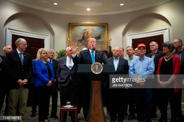 US President Donald Trump delivers remarks on supporting America's farmers and ranchers at the White House in Washington DC on May 23 2019