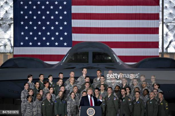 US President Donald Trump delivers remarks to military personnel and families in an aircraft hangar at Joint Base Andrews Maryland US on Friday Sept...