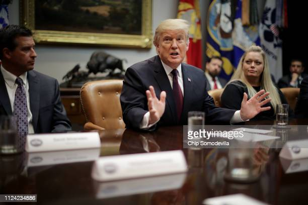 S President Donald Trump delivers remarks to reporters while participating in a roundtable about 'fair and honest pricing in healthcare' in the...