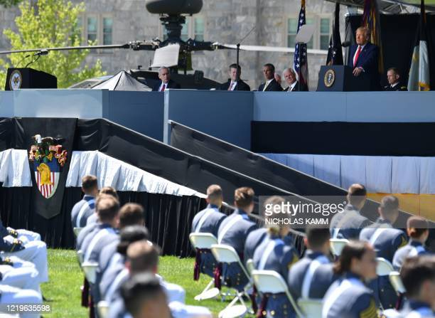 President Donald Trump delivers the commencement address at the 2020 US Military Academy Graduation Ceremony at West Point, New York, on June 13,...