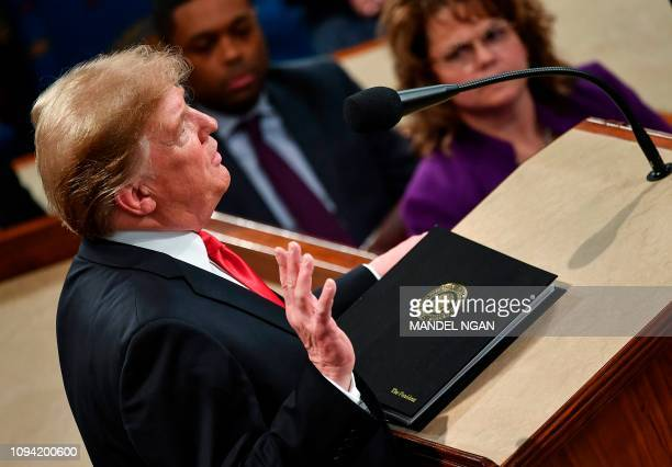 US President Donald Trump delivers the State of the Union address at the US Capitol in Washington DC on February 5 2019