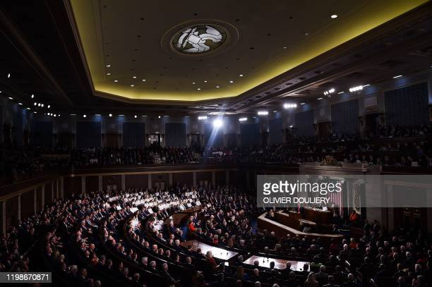 President Donald Trump delivers the State of the Union address at the US Capitol in Washington, DC, on February 4, 2020.