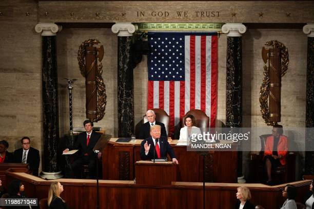 US President Donald Trump delivers the State of the Union address at the US Capitol in Washington DC on February 4 2020