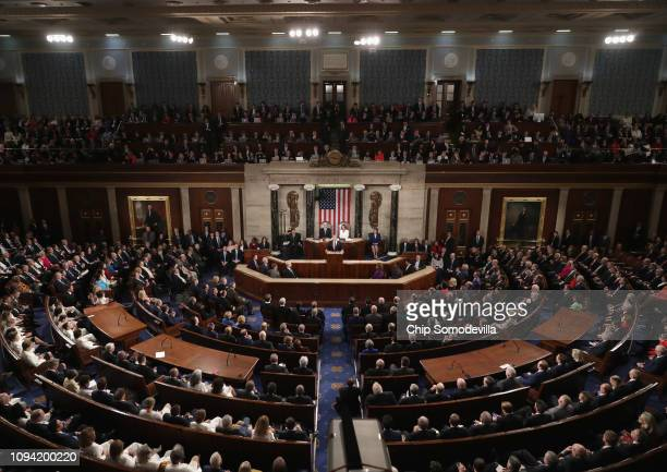 President Donald Trump delivers the State of the Union address in the chamber of the U.S. House of Representatives at the U.S. Capitol Building on...