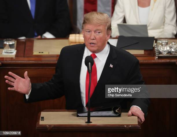 President Donald Trump delivers the State of the Union address in the chamber of the US House of Representatives at the US Capitol Building on...