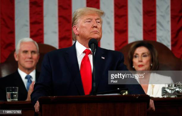 S President Donald Trump delivers the State of the Union address in the House chamber on February 4 2020 in Washington DC Trump is delivering his...