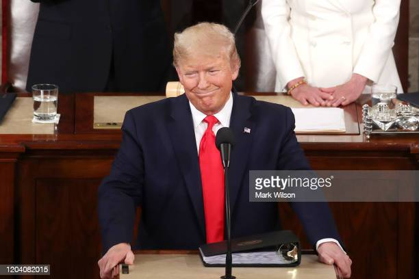 President Donald Trump delivers the State of the Union address in the chamber of the U.S. House of Representatives on February 04, 2020 in...