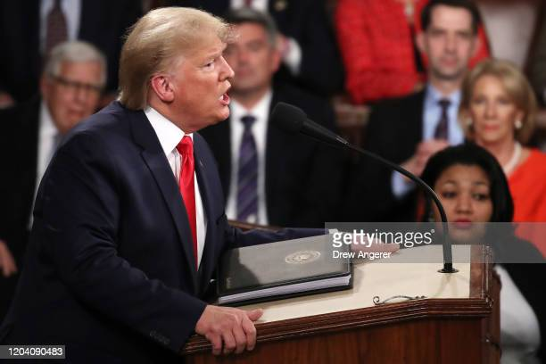 President Donald Trump delivers the State of the Union address in the chamber of the US House of Representatives on February 04 2020 in Washington DC...