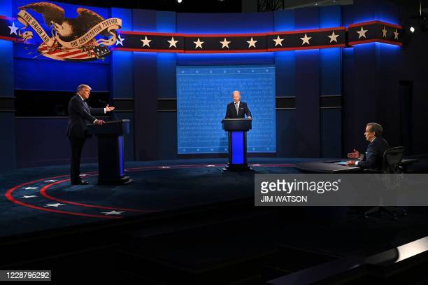 President Donald Trump , Democratic Presidential candidate and former US Vice President Joe Biden and moderator and Fox News anchor Chris Wallace...
