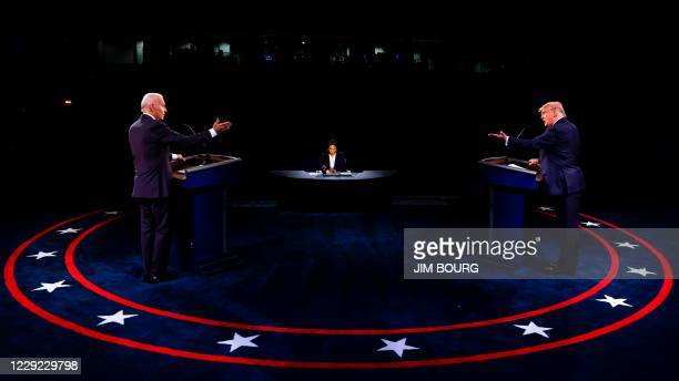 President Donald Trump Democratic Presidential candidate, former US Vice President Joe Biden and moderator, NBC News anchor, Kristen Welker...