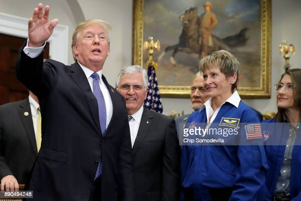S President Donald Trump departs after signing 'Space Policy Directive 1' during a ceremony with NASA astronauts Christina Koch Peggy Whitson Buzz...