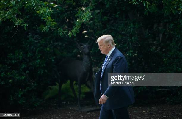 President Donald trump departs from the South Lawn of the White House on May 14 as he travels to Walter Reed National Military Medical Center in...