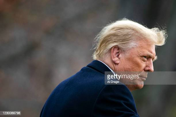 President Donald Trump departs on the South Lawn of the White House, on December 12, 2020 in Washington, DC. Trump is traveling to the Army versus...