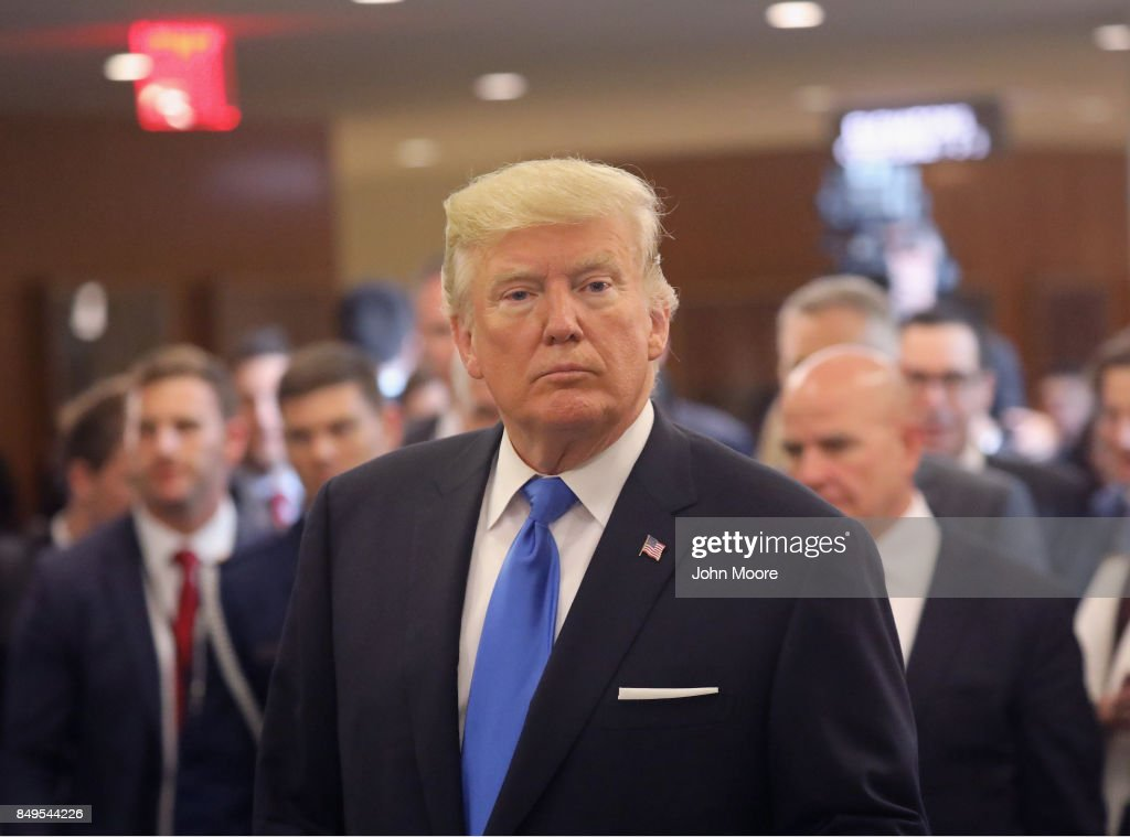 U.S. President Donald Trump departs the United Nations after his speech on September 19, 2017 in New York City. He addressed his first UN General Assembly meeting.