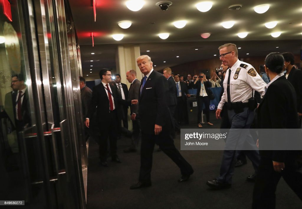U.S. President Donald Trump departs the United Nations headquarters after his speech on September 19, 2017 in New York City. He addressed world leaders at his first UN General Assembly meeting.