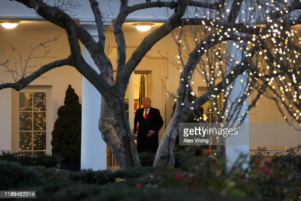 "S President Donald Trump departs the White House for a ""Merry Christmas"" campaign rally in Battle Creek Michigan on December 18 2019 in Washington DC..."